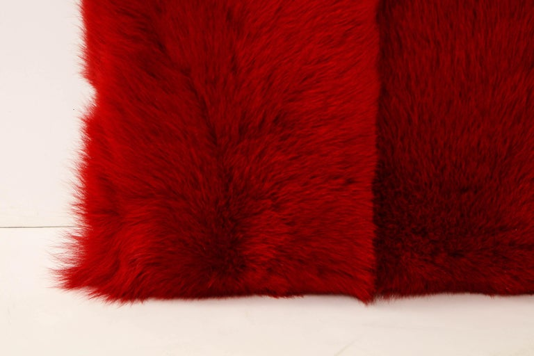 Contemporary Toscana Long Hair Shearing Pillow in Red Color For Sale