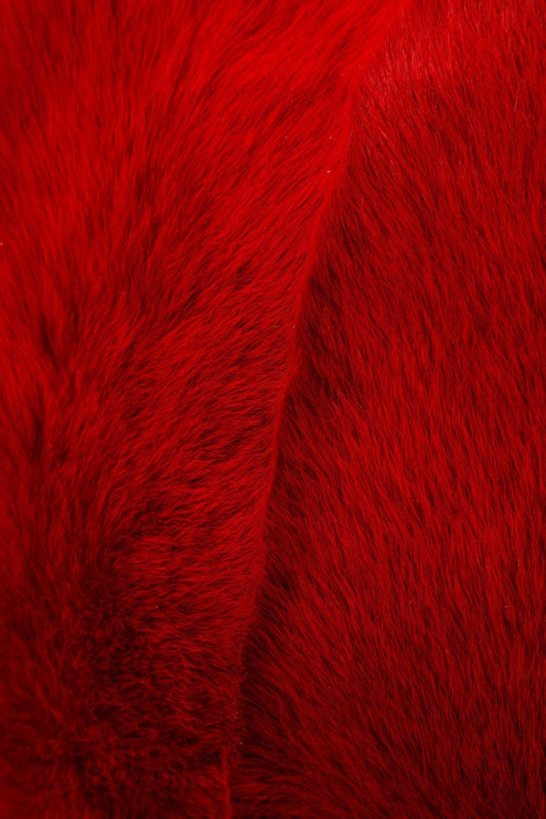 Fur Toscana Long Hair Shearing Pillow in Red Color For Sale