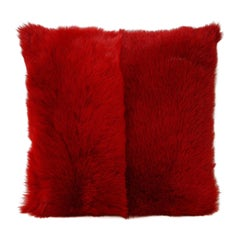Toscana Long Hair Shearling Pillow in Red Color