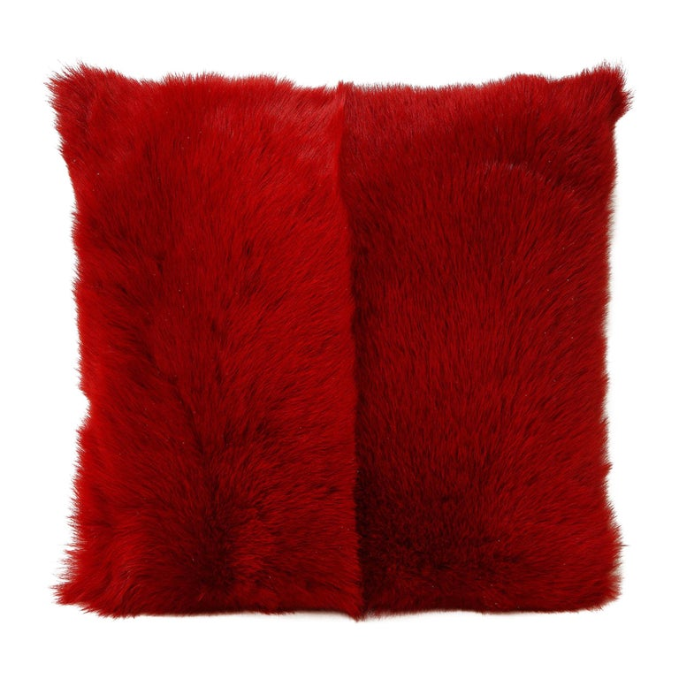 Toscana Long Hair Shearing Pillow in Red Color For Sale