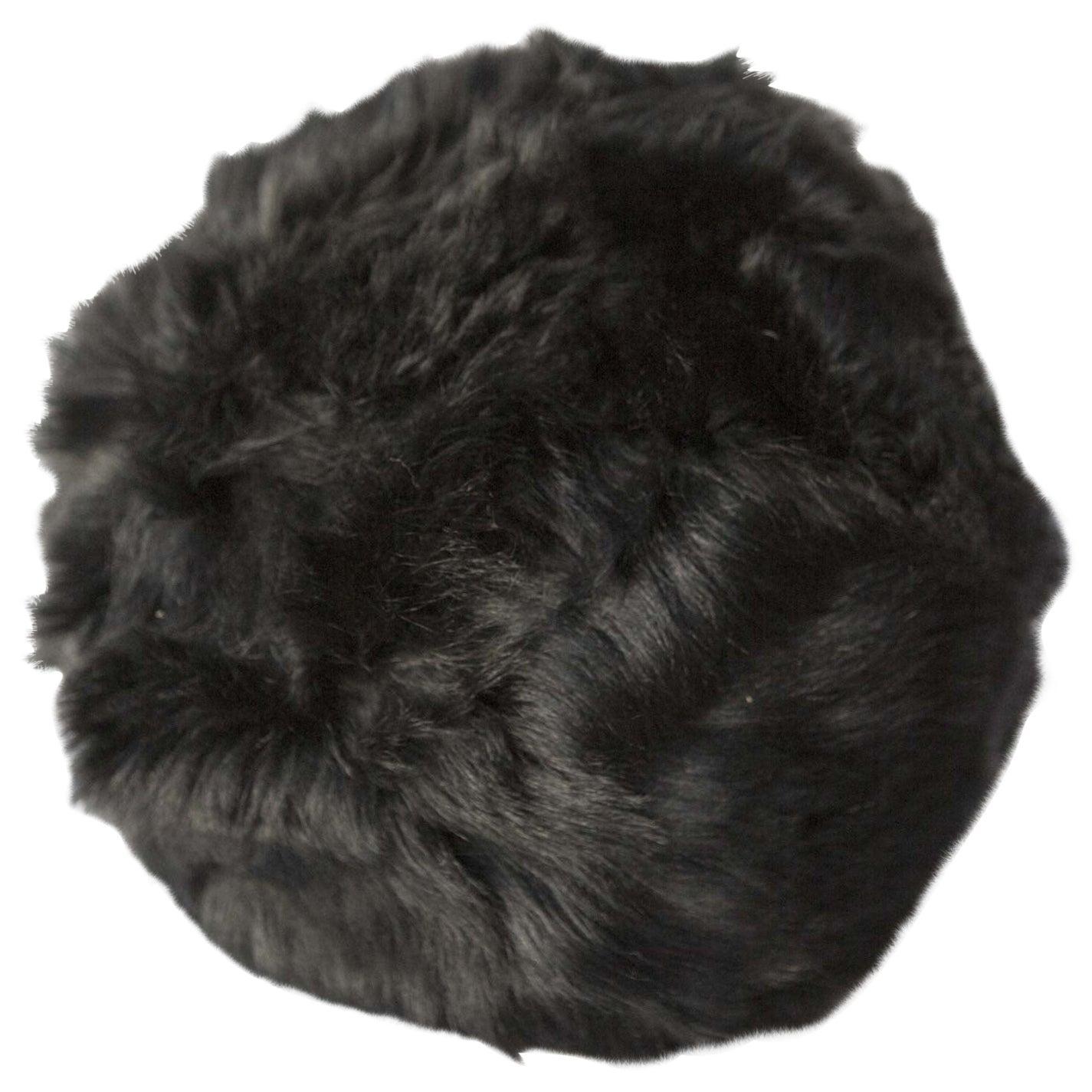 Toscana Sheepskin, Fur Snowball Pillow Black