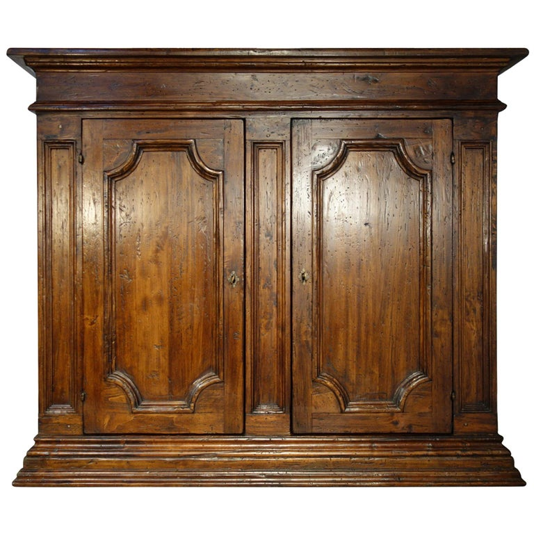 17th Century Style Italian Rustic Old Poplar Credenza Sideboard with 2 Doors For Sale