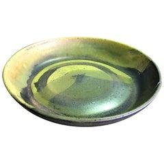Toshiko Takaezu Mid-Century Modern Signed Japanese Glazed Ceramic Pottery Bowl