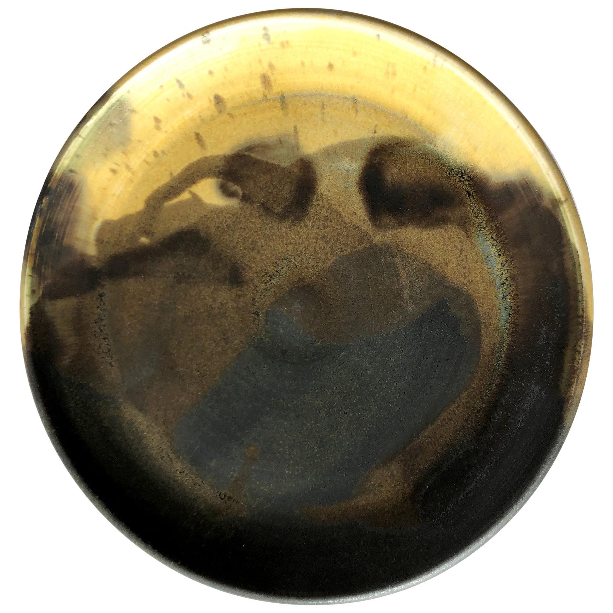Toshiko Takaezu Stoneware Splash Abstract Glazed Pottery Plate