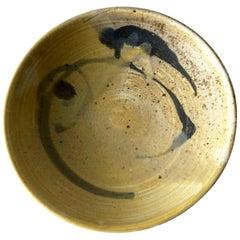 Toshiko Takaezu Studio Pottery Low Bowl with Abstract Design