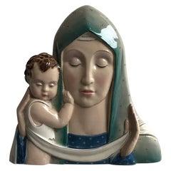Tosin Madonna Ceramic, 1930, Italy