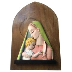 "TOSIN ""Madonna"" Ceramic Wood, 1930, Italy"