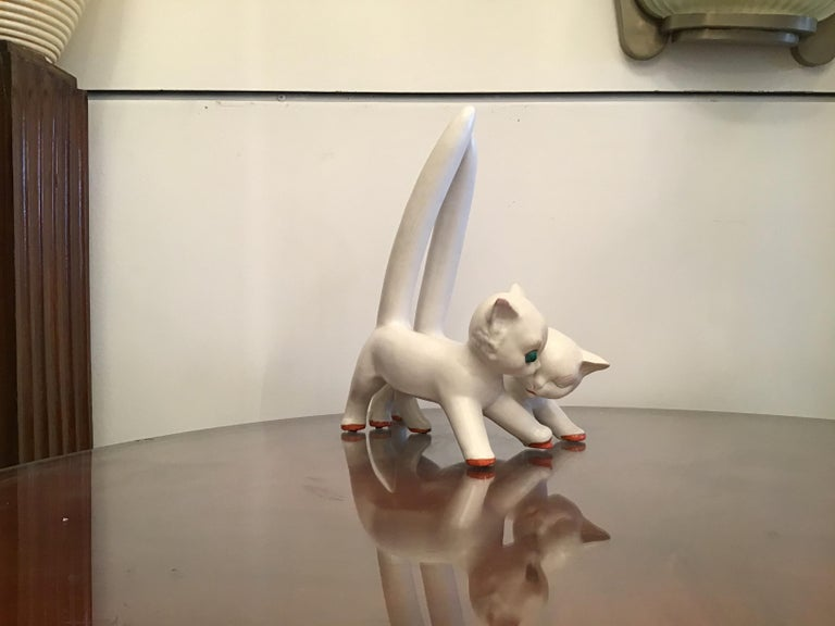 Tosin Pair of Cats Ceramic, 1940, Italy For Sale 7