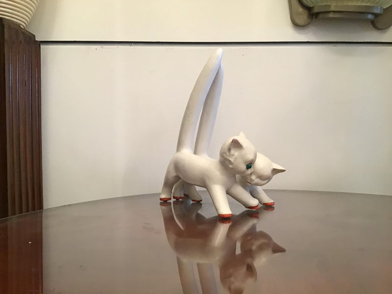 Tosin Pair of Cats Ceramic, 1940, Italy For Sale 9