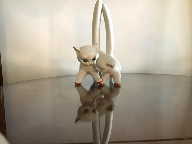 Tosin Pair of Cats Ceramic, 1940, Italy In Good Condition For Sale In Milano, IT