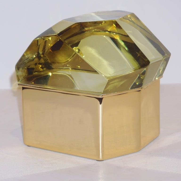 Contemporary Toso Italian Modern Diamond-Shaped Gold Murano Glass and Brass Jewel-Like Box