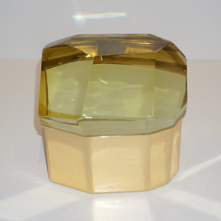 Toso Italian Modern Diamond-Shaped Gold Murano Glass and Brass Jewel-Like Box 1