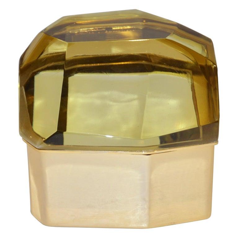 Toso Italian Modern Diamond-Shaped Gold Murano Glass and Brass Jewel-Like Box