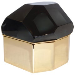 Toso Italian Modern Diamond-Shaped Smoked Gray Murano Glass & Brass Jewel Box