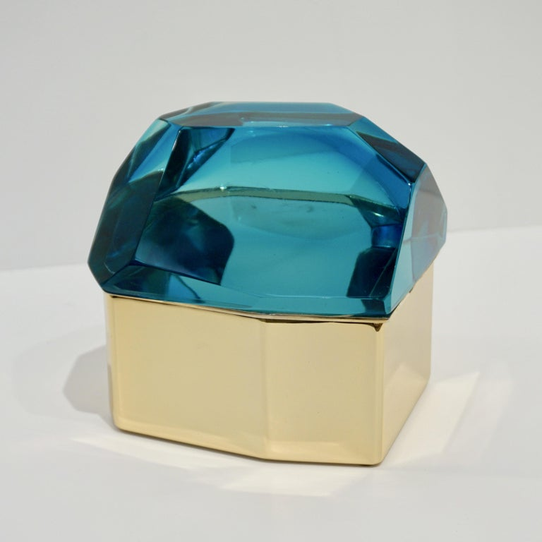 Toso Italian Modern Diamond-Shaped Turquoise Murano Glass & Brass Jewel-Like Box 4