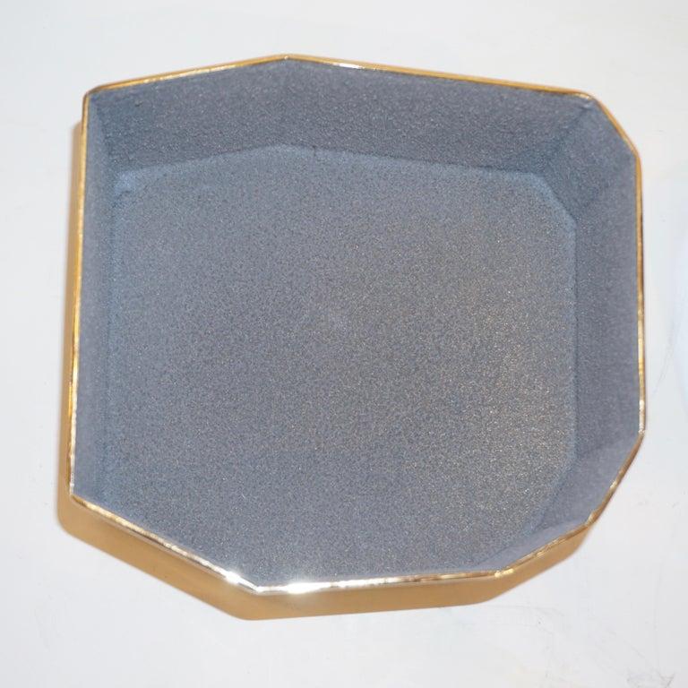 Toso Italian Modern Diamond-Shaped Turquoise Murano Glass & Brass Jewel-Like Box 5