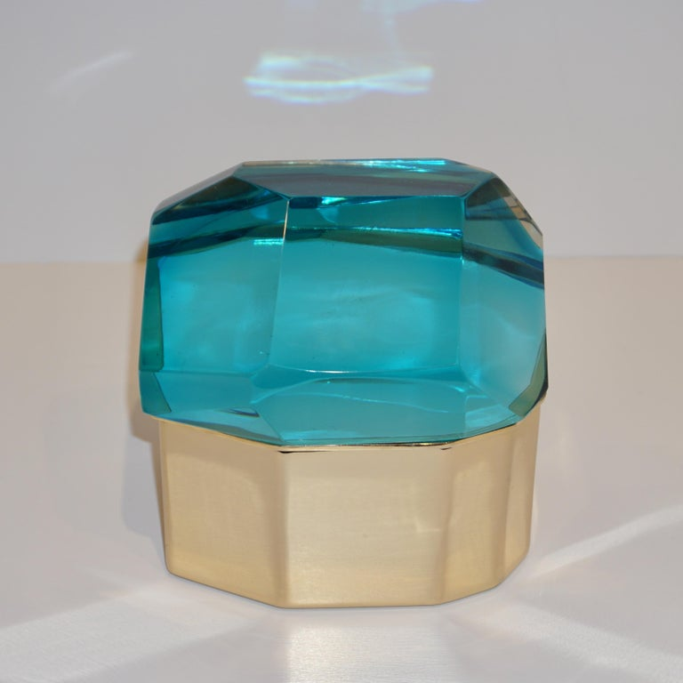 Toso Italian Modern Diamond-Shaped Turquoise Murano Glass & Brass Jewel-Like Box 6