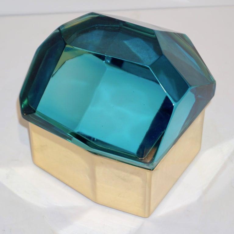 Toso Italian Modern Diamond-Shaped Turquoise Murano Glass & Brass Jewel-Like Box 7