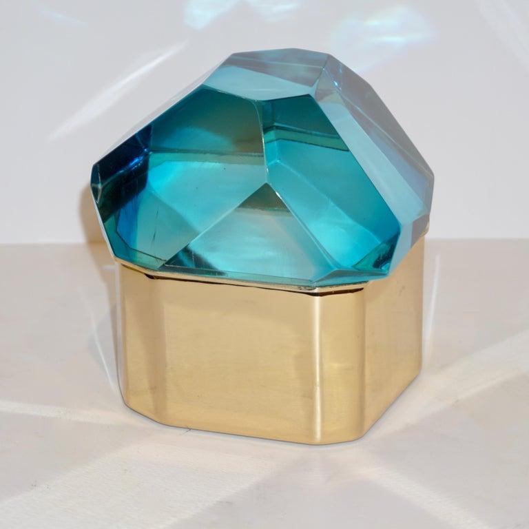 Toso Italian Modern Diamond-Shaped Turquoise Murano Glass & Brass Jewel-Like Box 8