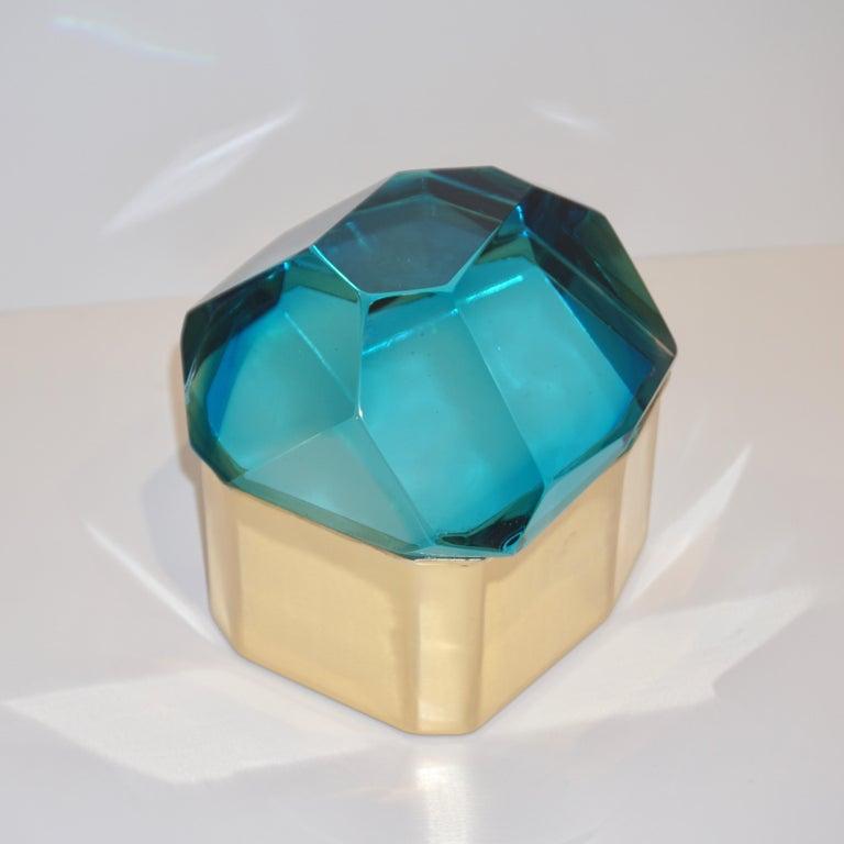 Toso Italian Modern Diamond-Shaped Turquoise Murano Glass & Brass Jewel-Like Box 9