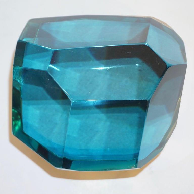 Art Deco Toso Italian Modern Diamond-Shaped Turquoise Murano Glass & Brass Jewel-Like Box