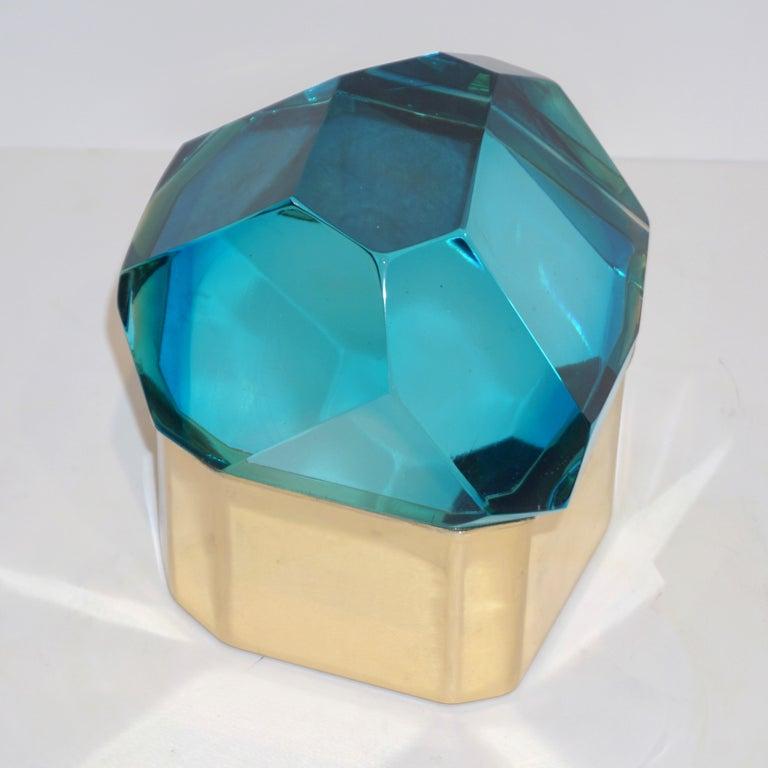 Hand-Crafted Toso Italian Modern Diamond-Shaped Turquoise Murano Glass & Brass Jewel-Like Box