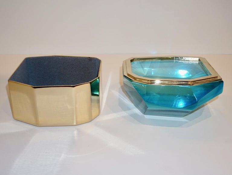 Contemporary Toso Italian Modern Diamond-Shaped Turquoise Murano Glass & Brass Jewel-Like Box