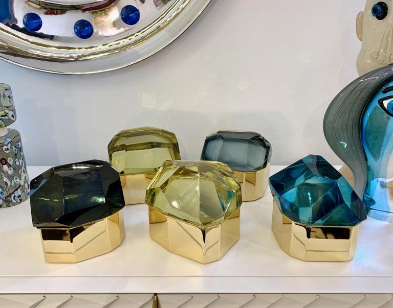 Toso Italian Modern Diamond-Shaped Turquoise Murano Glass & Brass Jewel-Like Box 1