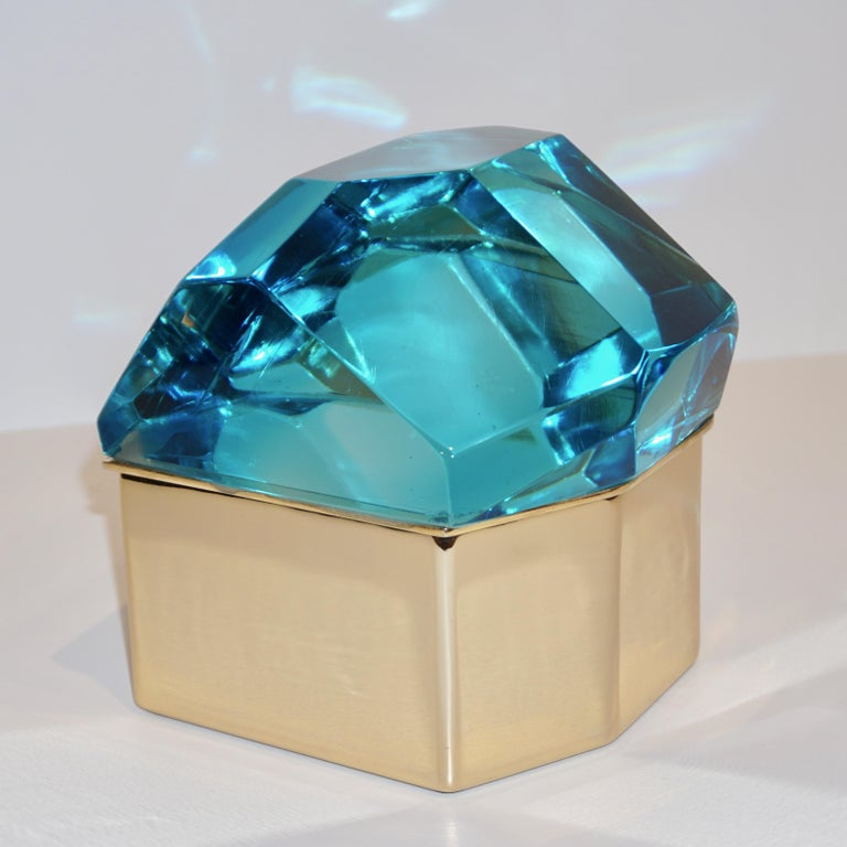 Toso Italian Modern Diamond-Shaped Turquoise Murano Glass & Brass Jewel-Like Box 2