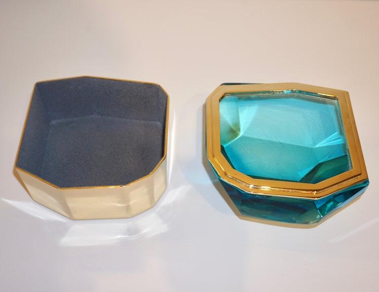 Toso Italian Modern Diamond-Shaped Turquoise Murano Glass & Brass Jewel-Like Box 3