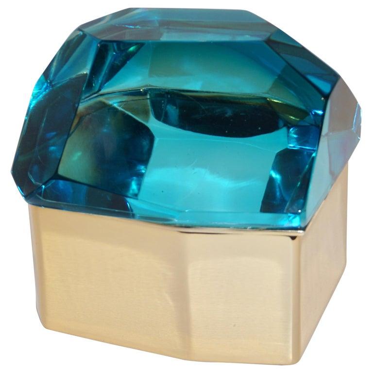 Toso Italian Modern Diamond-Shaped Turquoise Murano Glass & Brass Jewel-Like Box