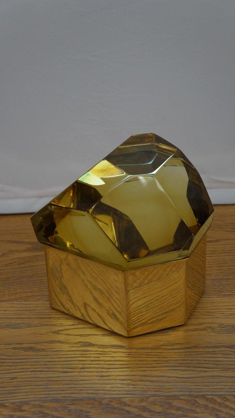 Toso Mid-Century Modern Amber Molato Murano Glass Jewelry Box, 1982 For Sale 4