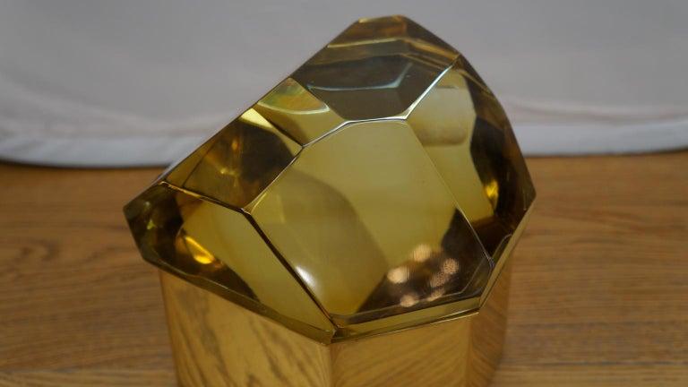 Toso Mid-Century Modern Amber Molato Murano Glass Jewelry Box, 1982 For Sale 5