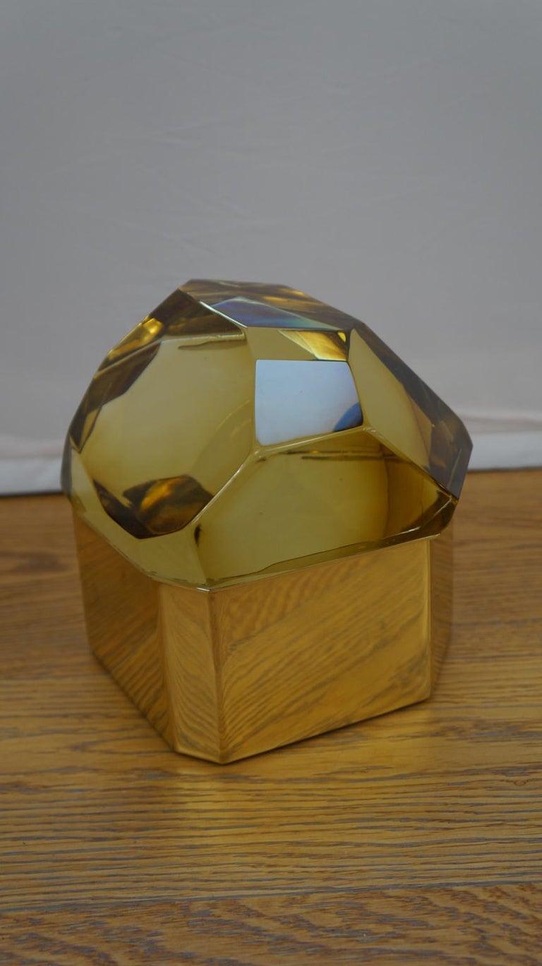 Toso Mid-Century Modern Amber Molato Murano Glass Jewelry Box, 1982 For Sale 6