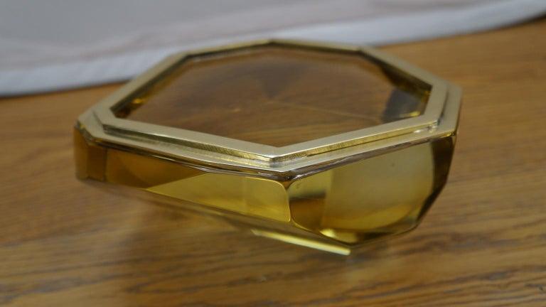 Toso Mid-Century Modern Amber Molato Murano Glass Jewelry Box, 1982 For Sale 9