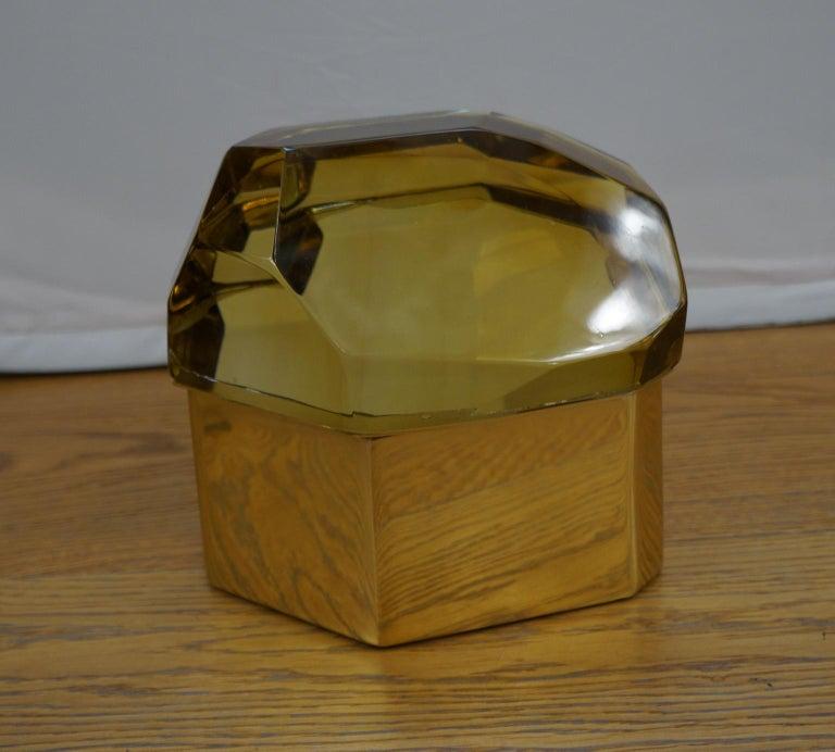 Toso Mid-Century Modern Amber Molato Murano Glass Jewelry Box, 1982 For Sale 10