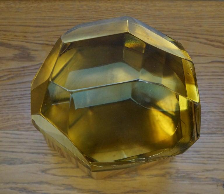 Italian Toso Mid-Century Modern Amber Molato Murano Glass Jewelry Box, 1982 For Sale