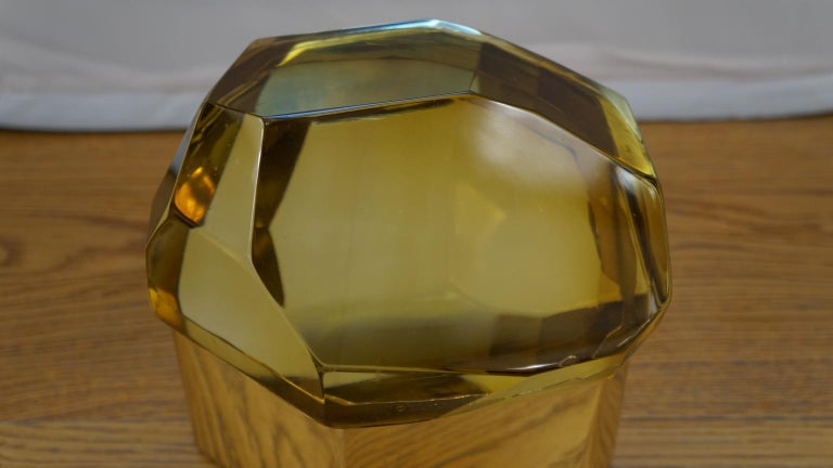 Hand-Crafted Toso Mid-Century Modern Amber Molato Murano Glass Jewelry Box, 1982 For Sale
