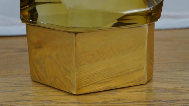 Toso Mid-Century Modern Amber Molato Murano Glass Jewelry Box, 1982 In Excellent Condition For Sale In Murano, Venezia