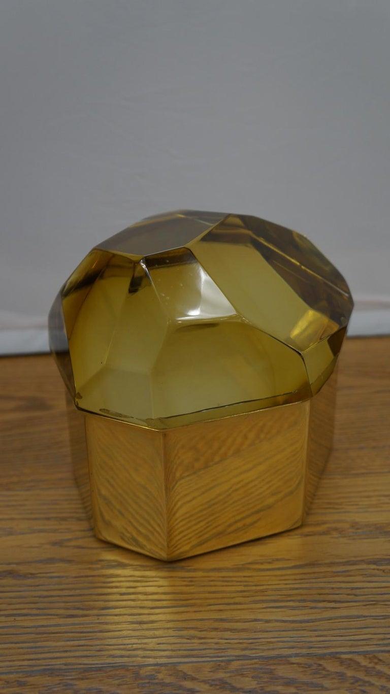 Late 20th Century Toso Mid-Century Modern Amber Molato Murano Glass Jewelry Box, 1982 For Sale