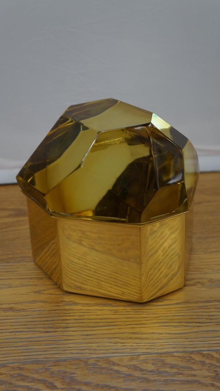 Toso Mid-Century Modern Amber Molato Murano Glass Jewelry Box, 1982 For Sale 1