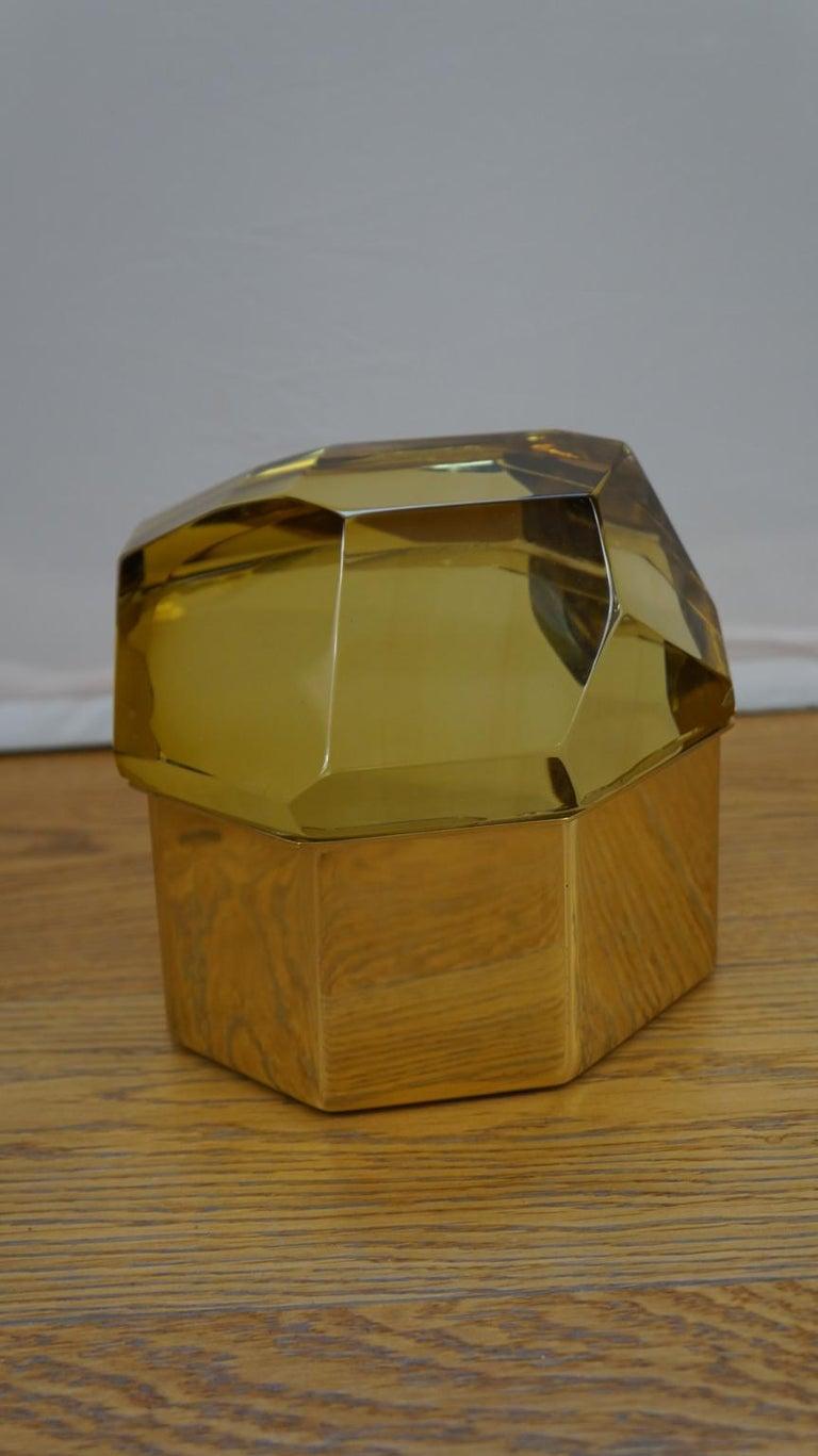 Toso Mid-Century Modern Amber Molato Murano Glass Jewelry Box, 1982 For Sale 2
