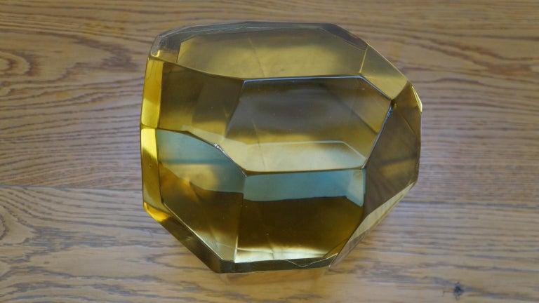 Toso Mid-Century Modern Amber Molato Murano Glass Jewelry Box, 1982 For Sale 3