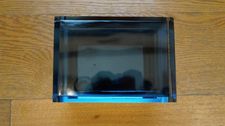 Toso Mid-Century Modern Blue Molato Murano Glass Jewelry Box, 1982 For Sale 3