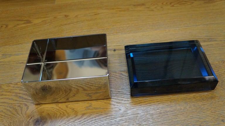Toso Mid-Century Modern Blue Molato Murano Glass Jewelry Box, 1982 For Sale 6