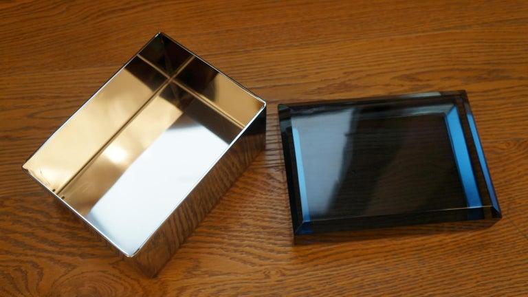 Toso Mid-Century Modern Blue Molato Murano Glass Jewelry Box, 1982 For Sale 7