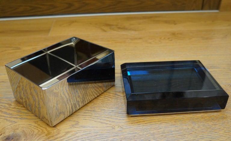 Toso Mid-Century Modern Blue Molato Murano Glass Jewelry Box, 1982 For Sale 8