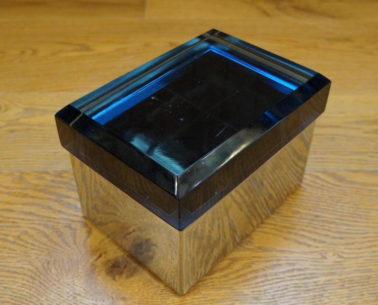 Toso Mid-Century Modern Blue Molato Murano Glass Jewelry Box, 1982 For Sale 10