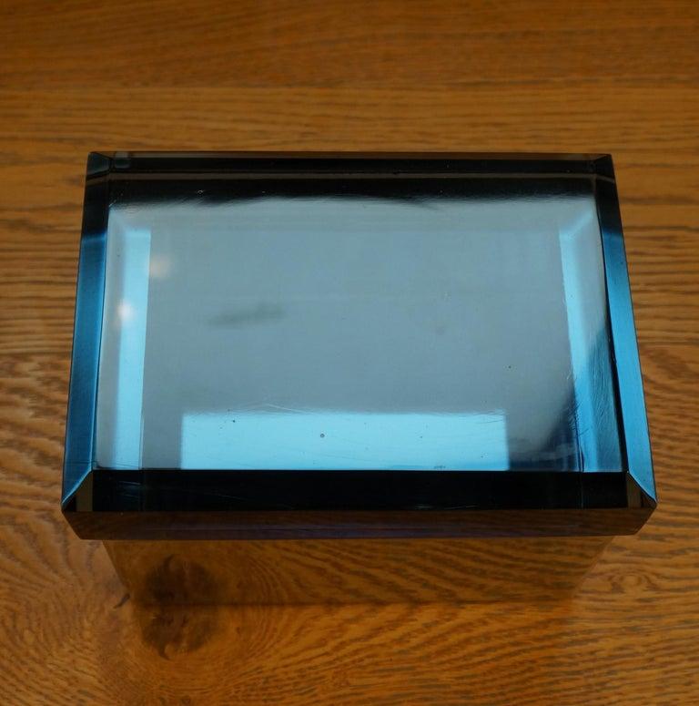 Italian Toso Mid-Century Modern Blue Molato Murano Glass Jewelry Box, 1982 For Sale