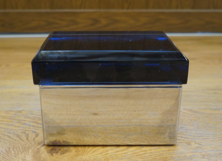 Hand-Crafted Toso Mid-Century Modern Blue Molato Murano Glass Jewelry Box, 1982 For Sale